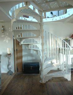 White Spiral Stair Case