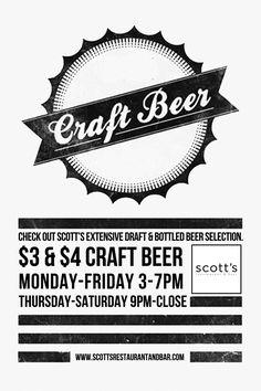 Craft Beer. Scott's Restaruant & Bar flyer.