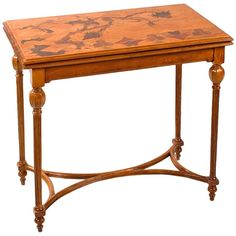 Emile Gallé French Art Nouveau Games Table | From a unique collection of antique and modern game tables at https://www.1stdibs.com/furniture/tables/game-tables/