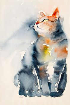 Aquarelle originale de chat qui regarde en l'air