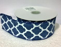 """10 yards of 1.5"""" wide single-sided wired canvas ribbon with a lattice pattern  ( 7 Colors )"""