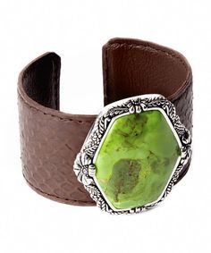 This Lime Turquoise & Silver Leather Cuff by Barse is perfect! #zulilyfinds