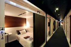 You will probably be staying at a hotel room sooner or another. Sleep Box, Capsule Hotel, Hotel Room Design, Bunk Bed Rooms, Great Hotel, Dormitory, Small Spaces, House Design, House Plans