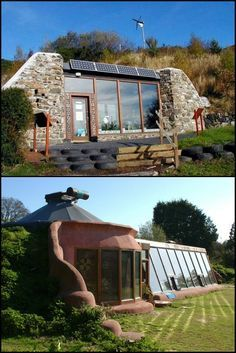 30 Off The Grid And Self-Sustaining Earthship Homes http://theownerbuildernetwork.co/3f2t This home uses one of the world's biggest waste problems as it's basic building material. Can you guess what that is? The result is an incredibly strong, thermally stable home. It can also look fantastic as you can see here!