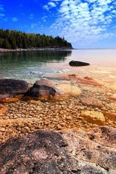 Picture of Beautiful view on a rocky shore with clear water and golden reflections at sunset. stock photo, images and stock photography. Places To Travel, Places To See, Yellowstone Camping, Rocky Shore, Destinations, Kayak, Get Outdoors, Outdoor Landscaping, Canada Travel