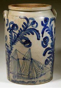 Old Stoneware Jar...with cobalt blue ship decoration.