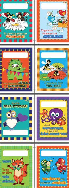 """108 Superbes cartes de gentillesse 4,25"""" x 5,5"""" à offrir à vos élèves en 8 modèles différents."""