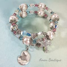 Swarovski Crystal Faux Pearls Rosary Wrap Bracelet With Sterling Silver Madonna With Child and a Sterling Silver Budded Cross  BR0231 by AmenBoutique on Etsy