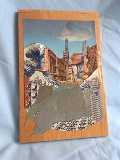 Imminent: Original Collage on Salvaged Wood Plank on Etsy, $50.00