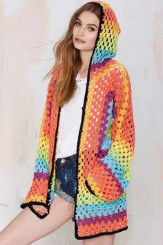 Nasty Gal brand #crochet #fashion granny square rainbow hoodie