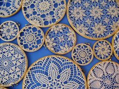 lace art; perhaps I'd paint the rings turquoise, yellow or gray to match my decor