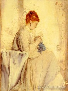 Alfred Stevens La Tricoteuse painting for sale - Alfred Stevens La Tricoteuse is handmade art reproduction; You can buy Alfred Stevens La Tricoteuse painting on canvas or frame. Alfred Stevens, Woman Painting, Figure Painting, Illustrations, Illustration Art, Art Magique, 24. August, Knit Art, Social Art