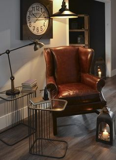 Wingback Leather Armchair - - Hicks and Hicks Interior Styling, Interior Design, Vintage Home Accessories, Wholesale Furniture, Vintage Room, Modern Wall Decor, Living Room Chairs, Living Rooms, Vintage Furniture