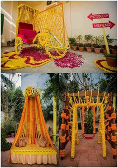 home decor diys Wedding Hall Decorations, Desi Wedding Decor, Luxury Wedding Decor, Marriage Decoration, Wedding Ideas, Mehendi Decor Ideas, Mehndi Decor, Haldi Ceremony, Mehndi Stage
