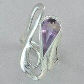 Jim Kelly Sterling Silver and Ametrine Teardrop Ring.  A faceted teardrop of ametrine, set in sterling silver, on a sterling silver ring. Designed and made by Jim Kelly.