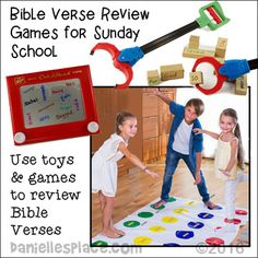 Bible Games For Sunday School using children's toys such as grabbers and Twister Sunday School Rooms, Sunday School Activities, Sunday School Lessons, School Staff, Verses For Kids, Bible Lessons For Kids, Bible For Kids, Bible Games, Bible Activities
