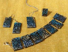parure polymer clay : bracelet , necklace, ring and earrings by FimosFlowers on Etsy
