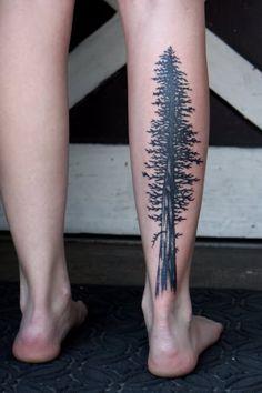 Ideas Pine Tree Tattoo Arm Sleeve Beautiful For 2019 Pine Tattoo, Tree Leg Tattoo, Redwood Tattoo, Trendy Tattoos, Tattoos For Guys, Kiefer Tattoo, Wald Tattoo, Arm Sleeve, Back Of Leg Tattoos