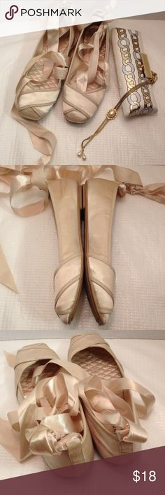 aa1f3f2efff1 Cream ballet flats tie up the legs Worn once to a wedding in good condition