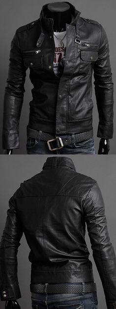 $19.14,Pockets Design Long Sleeve PU Leather Jacket - Black M | Rosewholesale,rosewholesale.com,rosewholesale clothes,rosewholesale.com clothing,rosewholesale for men,rosewholesale tops,rosewholesale jackets,coats & jackets,jackets&coats,leather jackets,black jackets,coats,jackets,men's fashion,winter outfits | #Rosewholesale #coats  #jackets #menswear