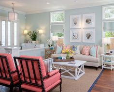 Coastal style with seashell prints and plenty of coral and teal colors from the Gulf of Mexico. From: House of Turquoise: AGK Design Studio Cottage Style Living Room, Home Living Room, Living Room Designs, Living Room Decor, Beach Living Room, Living Room With Beige Couch, Living Area, Decor Room, Room Decorations