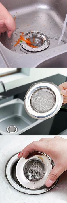 [Visit to Buy] 1Pc Stainless Steel Mesh Kitchen Appliances Sewer Convenient Filter Barbed Wire Colander Sink Drainer #Advertisement