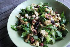 Roasted cauliflower, cranberry and hazelnut salad