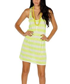 When beachside strolls and sunshine days aren't far away, this carefree, striped dress is ready to come out and play. Thin, braided rope makes up the waist-cinching sash and layered racerback straps. Yellow Stripes, Neon Yellow, That Look, Take That, How To Make Rope, Affordable Dresses, Striped Dress, Braids, Bodycon Dress