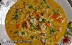 Tejszínes, citromos gombaleves recept fotóval Cheeseburger Chowder, My Recipes, Soup, Ha, Dishes, Chicken, Plate, Utensils, Soups