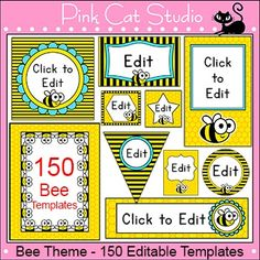 Bee Theme - 150 Editable Templates for Posters, Labels, Bi