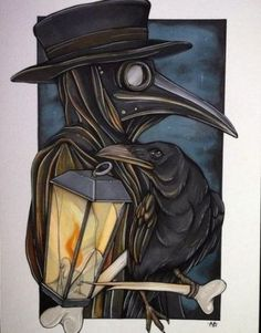 Animated plague doctor with shining