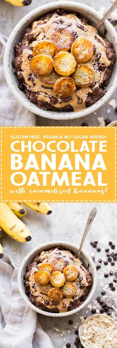 This Chocolate Banana Oatmeal is sweetened with a ripe banana, full of chocolatey flavor, and topped with sweet caramelized bananas! This gluten-free and vegan breakfast has no sugar added and is sure to fill you up and keep you satisfied.