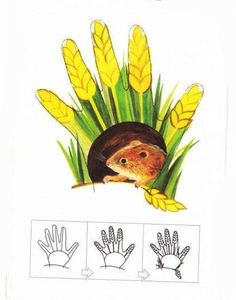 Рисование ладошками для детей. Схема - мышка