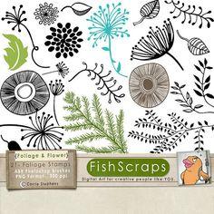 50% Sale - Flower Doodles - Floral Photoshop Brush - Foliage Digital Stamps & Floral Silhouettes - PNG Clip Art - Card Making ClipArt