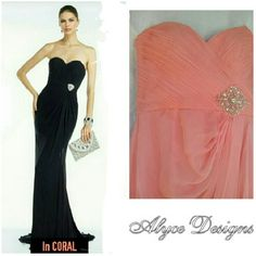 BEAUTIFUL DESIGNER ALYCE  CORAL  PROM DRESS BEAUTIFUL CORAL COLOR PROM DRESS * Color.                Coral/Peach * Hemline.          Long / Floor * Neckline.         Strapless * Silhouette.      A-Line, Empire * Fabric.             Silky Chiffon * Size                  4 This strapless silky Chiffon long gown is sure to turn heads! Featuring an eye-catching bedazzled gem on waistband, ruched bodice,  open Zipper back, and flowy sheer layered skirt to complete the look. Pre-Loved and in…