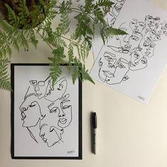 Items similar to Rest Your Head - Original Print - Illustration - Portraiture - Simple Design - Faces - Blind Contour Drawing - Wall Hanging -Minimalist on Etsy Original Prints, Illustration, Portraiture, Art, Humanoid Sketch, Portrait, Vintage, Prints