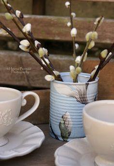 The Swenglish Home: Decoupage napkin tin.
