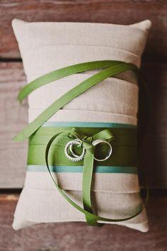 Hochzeit Ringkissen Leinen grün
