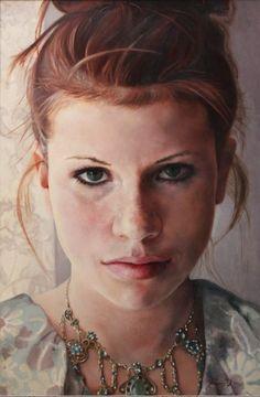 Allison' original oil portrait figurative painting by by KimDow