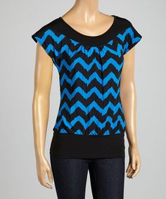 This Cobalt & Black Zigzag Cap-Sleeve Top - Plus by ARIA FASHION USA is perfect! #zulilyfinds #LOVEIT
