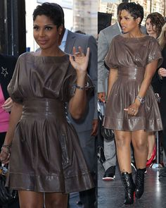 Toni Braxton Steals the Spotlight from Babyface in a Fab Leather Look