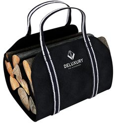 Firewood Carrier - Fireplace Accessories: Durable Canvas Handler, Log Tote and Carrying Bag - Premium Style ** Click image to review more details. (This is an affiliate link) #FireplacesandAccessories