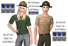 THIS IS FOR SIMS 2! AF and AM Park Ranger tops, plus hat. I had expand the females top because it only covered the ribs. For some reason males got a whole top, but females didn't? They work best with 3t2 or 4t2 bottoms. They are top separates. Morphs...