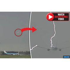 Baffling video shows 'UFO' flying over airport moments before plane is struck by Lightning