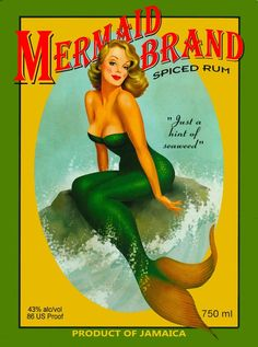 A SLICE IN TIME Mermaid Pin Up Jamaica Jamaican Rum Caribbean Island Beach Vintage Travel Advertisement Art Collectible Wall Decor Poster Print. Poster Measures 10 x inches Pinup Art, Vintage Mermaid, Mermaid Art, Mermaid Pinup, Pin Up Mermaid, Mermaid Poster, Tattoo Mermaid, Mermaid Vector, Mermaid Canvas