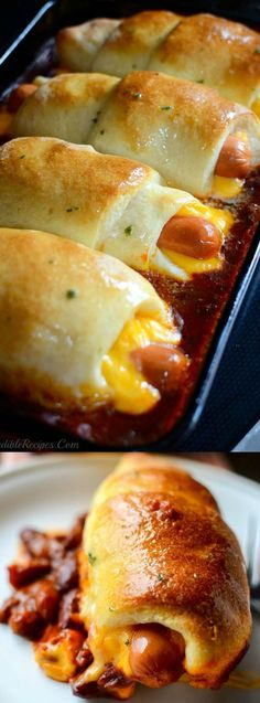 Chili Dog Dinner Recipes If you need an easy, cheesy, budget friendly dinner recipe then you are really going to LOVE this Chili Cheese Dog Bake recipe that's done in 18 minutes! Hot Dog Recipes, Beef Recipes, Cooking Recipes, Recipies, Recipes With Hotdogs, Chili Dog Recipes, Best Chili Dogs Recipe, Leftover Chili Recipes, Hamburger Meat Recipes