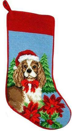 1ca1563f016 Blenheim Cavalier King Charles Spaniel Dog Poinsettia Christmas Needlepoint  Stocking - 11