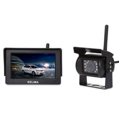 Wireless Rear view Car Monitors for Parking with Reverse Backup Camera,4.3 Inch TFT Screen Display,18 IR LED Night Vision Camera