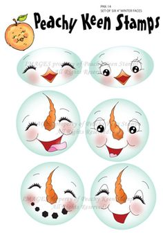 Set of Six Winter Faces: Peachy Keen Stamps Christmas Projects, Holiday Crafts, Snowman Faces, Snowmen, Peachy Keen Stamps, Cartoon Faces, Copics, Doll Face, Paper Piecing