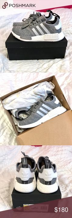 Adidas NMD R1 Glitch Grey Prime Knit Brand new! Ordered for myself but they don't fit :( they were only worn to try on. They're a size 5.5 in mens which is a 7 for women. I'll accept reasonable offers but I don't want to lose too much from what I paid! adidas Shoes Athletic Shoes